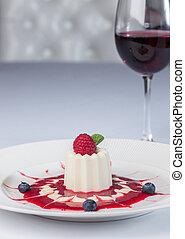 Romantic evening with delicious panna cotta dessert
