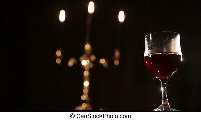 Romantic evening with wine.