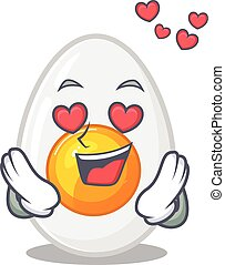 Romantic falling in love boiled egg cartoon character concept
