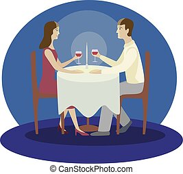 Romantic family dinner. Valentines dinner. Flat vector isolated illustration