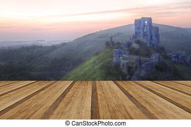 Romantic fantasy magical castle ruins against stunning vibrant s