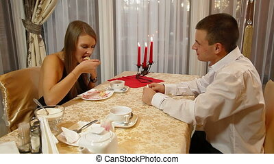 Romantic Fine Dining - Eating dessert