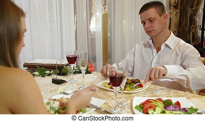 Romantic Fine Dining - Romantic couple having dinner