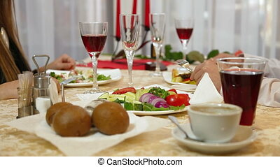 Romantic Fine Dining - Young couple having a dinner in a...