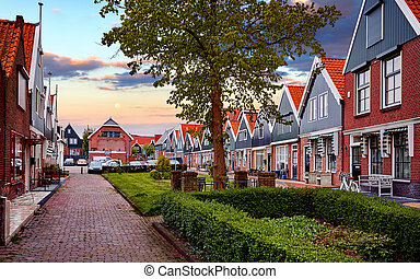 Romantic fishing village Volendam panorama Netherlands Amsterdam