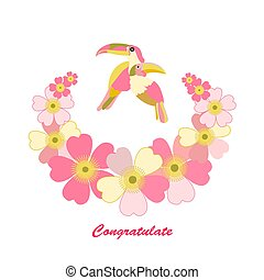 romantic floral background. cartoon Rainbow Toucan bird