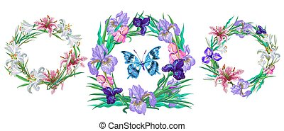 romantic floral collection of wreaths with butterfly for your design.