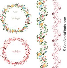 romantic floral collection. vertical seamless borders and plant