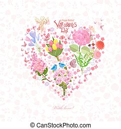 romantic floral heart with cupid for your design