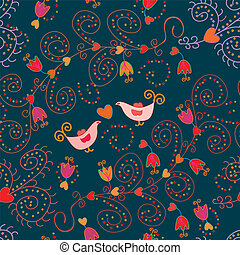 Romantic floral seamless pattern with birds