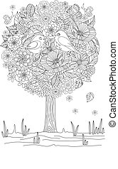 romantic floral tree with birds for your coloring book
