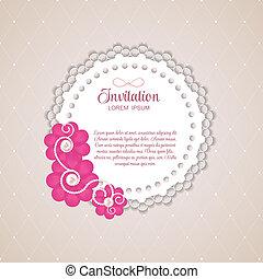 Romantic Flower Vintage Invitation Card Vector Background