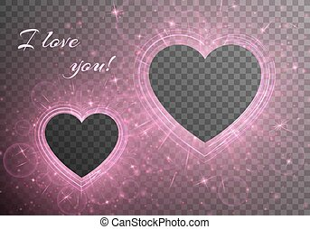 Romantic frame background - Bling background with romantic...
