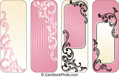 Romantic French vertical banners in pink - Four vertical...
