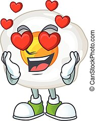 Romantic fried egg cartoon character with a falling in love face