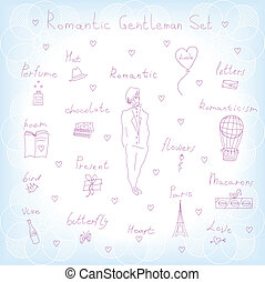 romantic gentleman set - set of objects for a romantic...