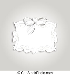 Romantic gift card with vintage label for text and silk...