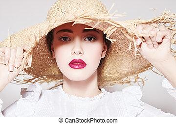 romantic girl in hat