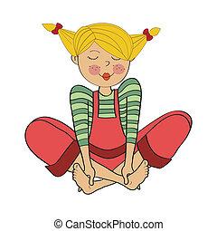 romantic girl, is sitting barefoot - romantic girl isolated ...