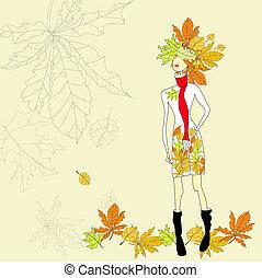 Romantic girl on autumn background