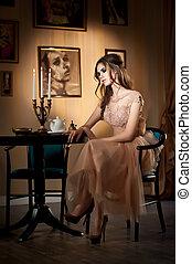 Romantic girl, vintage scenery - Young beautiful brunette...