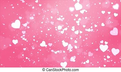 Romantic Glitter glowing flying Hearts and Confetti Pink ...