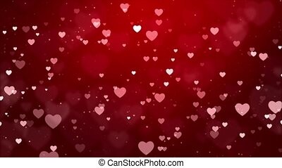 Romantic Glitter glowing flying Hearts and Confetti Red Gradient Loop Background.