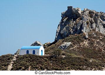 Romantic Greek wedding chapel and a mountain - Famous chapel...