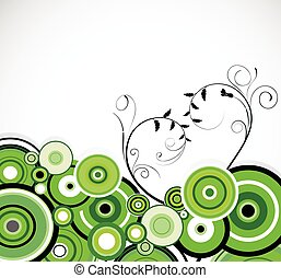 Romantic green rings. Floral background. Vector
