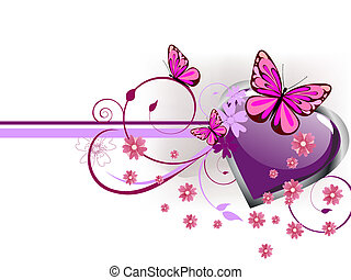 romantic greeting card - vector illustration of a purple ...