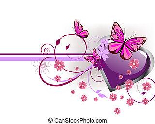 romantic greeting card - vector illustration of a purple...