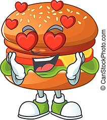Romantic hamburger cartoon character with a falling in love face