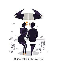 romantic., hart, paraplu, liefde, paar, silhouettes, vorm, onder