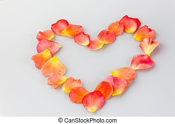 Romantic heart of roses leaves