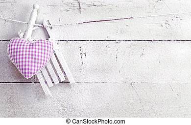 Romantic Heart On White Boards - Romantic checked violet...