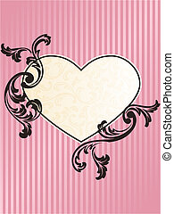 Romantic heart shaped French retro frame in pink