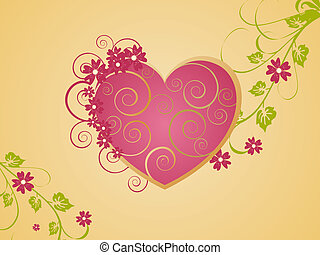Vector illustration of a beautifull valentin heart with floral elements