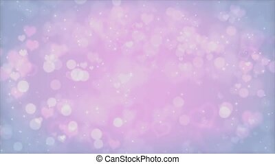 Romantic hearts bokeh background. Seamless loop animation ...