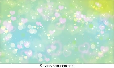 Romantic hearts bokeh background. Seamless loop animation...