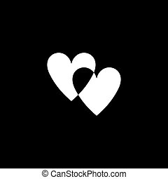 Romantic hearts icon. Love symbol. Two unpainted hearts intersecting each other. Happy valentines day and wedding design elements. Vector illustration isolated on background. Black white version.