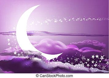 romantic heaven - vector romantic scene with moon, stars and...