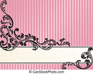 Romantic horizontal French retro banner in pink - Elegant...