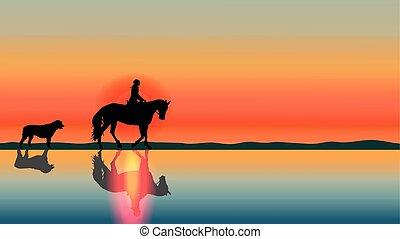 Romantic horse background - sunset on the beach