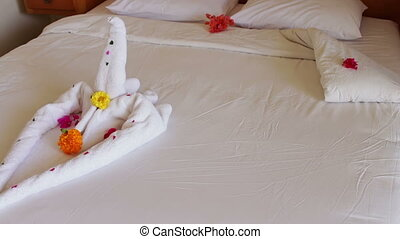 Romantic Hotel Room with Swan Towels