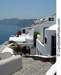 romantic hotel view traditional house with volcanic cliff caldera view greek islands greece santorini thira ia oia town