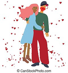 Romantic hugging couple with red hearts.