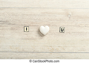 Romantic I Love You message on wood
