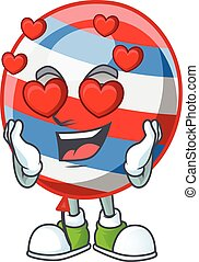 Romantic independence day balloon cartoon character with a falling in love face