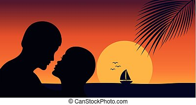 romantic kiss at sunset on the beach