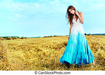 romantic lady - Romantic young woman posing outdoor.